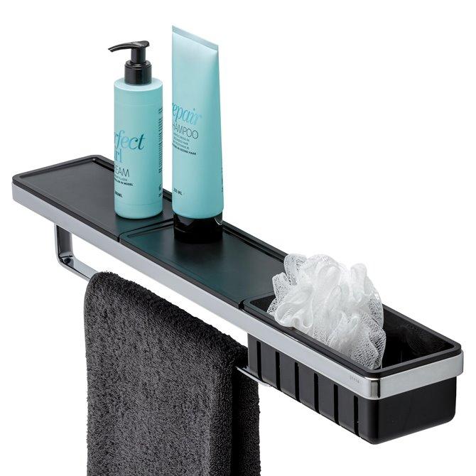 Geesa Geesa Frame Shelf With Towel Rail And Shower Basket Black Chrome